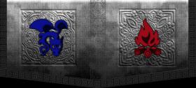 Flaming Blue Dragons